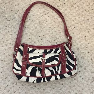 Handbags - Zebra Print w/Red Trim Shoulder Purse